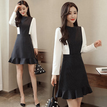 Dress female  Autumn 2017 new fashion college style round neck stripes stitching fish tail long sleeves dress AL402