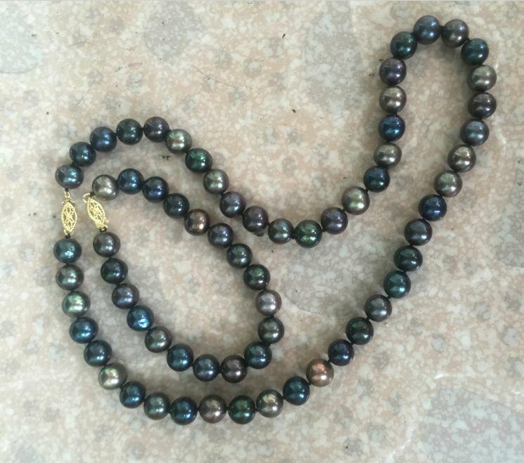 Ensemble of10-11mm tahiti noir vert multicolore perle collier 18 et bracelet7.5-8Ensemble of10-11mm tahiti noir vert multicolore perle collier 18 et bracelet7.5-8
