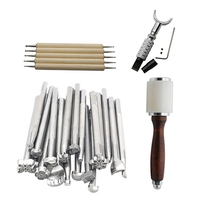 25pcs/set Prints Tools Leather Carving Tools DIY Leather Craft Kit Carving Working Saddle Making Tools Set Hammer Swivel Knife