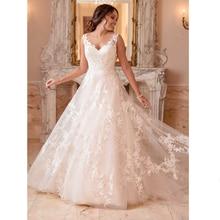 Princess Elegant Lace Appliques A-Line Wedding Dress V Neck Sleeveless Bride Dresses Boho Wedding Gowns Robe De Mariage