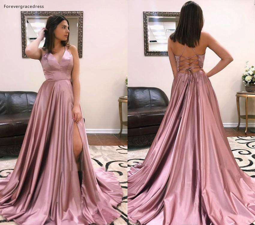 Sexy Backless   Prom     Dresses   2019 A Line Satin Floor Length Pageant Holidays Graduation Wear Formal Evening Party Gowns Plus Size
