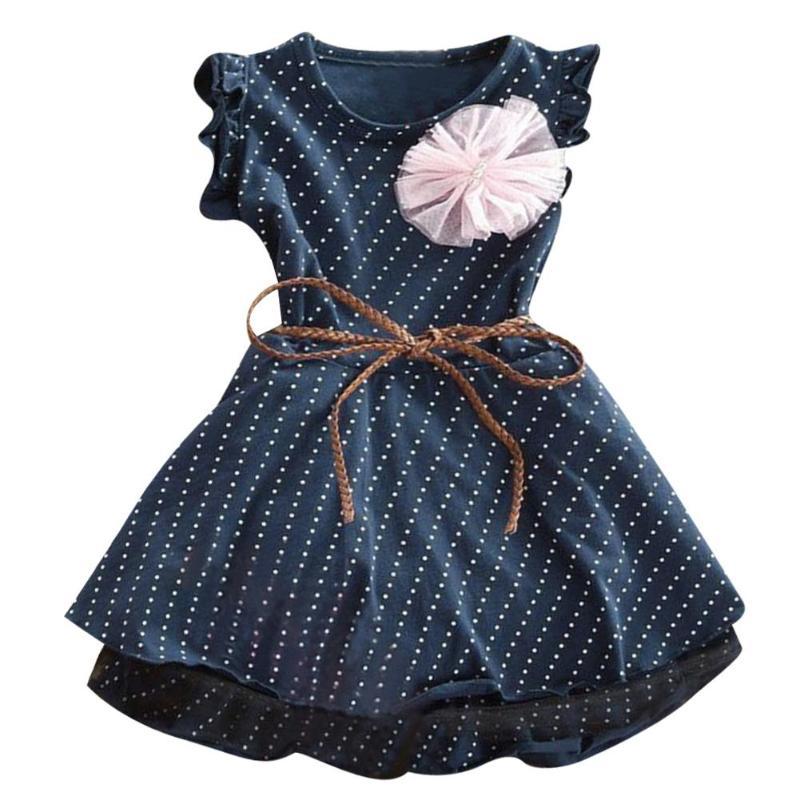 Летнее детское платье для девочки без рукавов Принцесса Обувь для девочек Платья для женщин в горошек платье для дня рождения Vestidos Повседне...