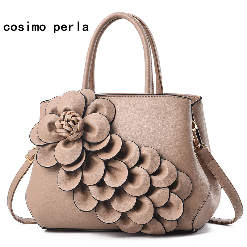 Famous Brand Luxury Designer 3D Flower Women Handbags 2018 Elegant Fashion Leather Tote Shoulder Bag Ladies Party Sac a main women trapeze tote bag luxury split leather handbags designer big smiley shoulder bag famous brand purse and handbags sac a main