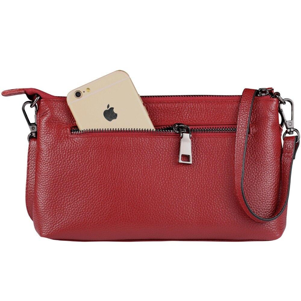 Women\\'S Genuine Leather Shoulder Bag Small Zip Ladies Crossbody Bag Tassel Wristlet Clutches Bag Soft Handbag For Women
