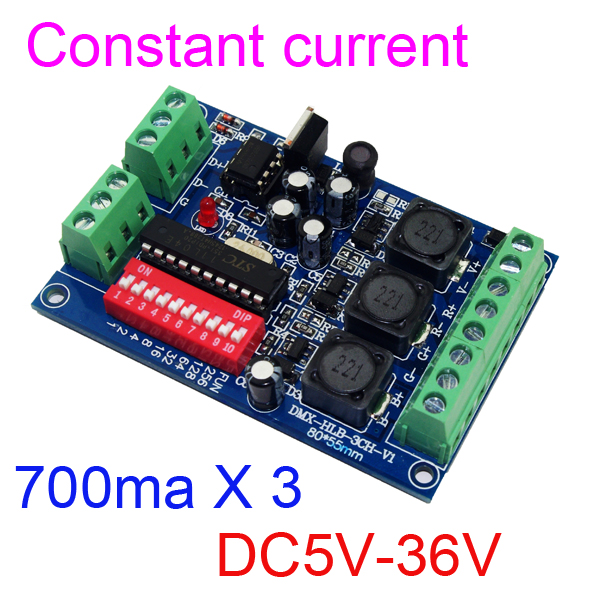 մշտական ընթացիկ 3 ալիք 700MA DMX512 RGB վերահսկիչ 3CH DMX512 ապակոդավորիչ DC5-36V մուտքագրում յուրաքանչյուր ալիք 700MA