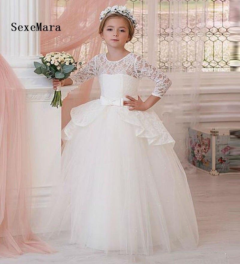 3c0c15144f3 2018 пышное белое кружево Платья для причастия для девочек Длинные Тюль  платье с цветочным узором для