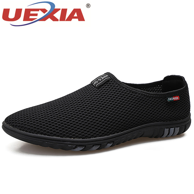 UEXIA Summer New Casual Shoes Men Sneakers Breathable Leather Mesh Fashion Driving Shoes Comfortable Soft Hand Made Men Loafers mvp boy brand 2018 new summer mesh air mesh men breathable loafers black shoes spring lightweight fashion men casual shoes
