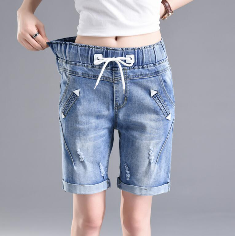 Plus size Women   Shorts   2018 new Summer Elastic waist Denim   Shorts   Boyfriends   Shorts   casual Curling Jeans   shorts   female s799