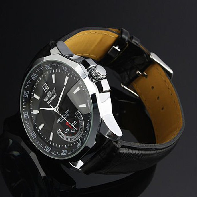 HTB144r7XhrvK1RjSszeq6yObFXaO Relogio Masculino Winner Brand New Men's Automatic Mechanical Watches Leather Strap Watch Fashion Sports Men luxury Wristwatches
