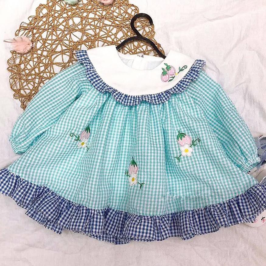Summer New Spanish Cute Princess Dress For Girls Cotton Print Plaid Dress Long sleeve Spliced Modis Kids Clothes Vestidos Y1372Summer New Spanish Cute Princess Dress For Girls Cotton Print Plaid Dress Long sleeve Spliced Modis Kids Clothes Vestidos Y1372