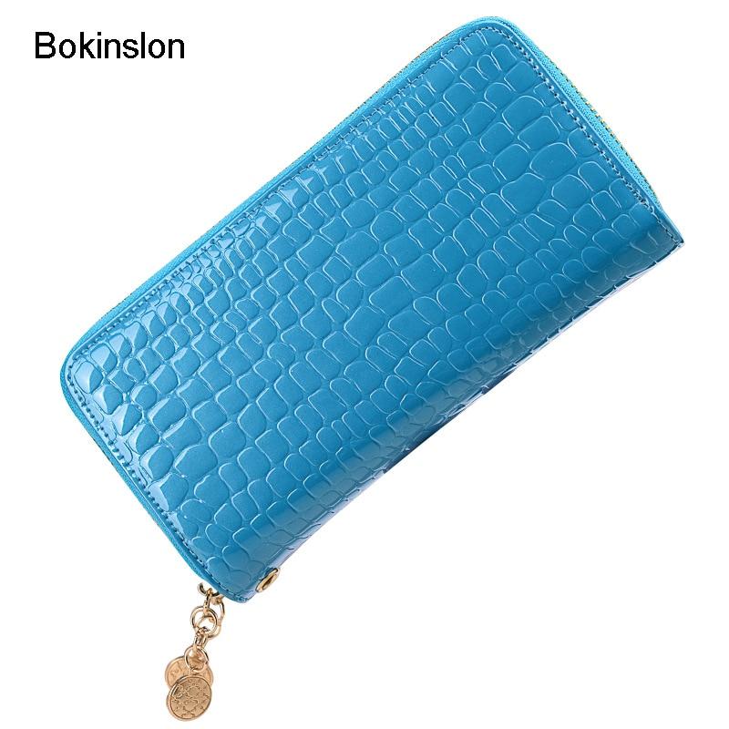 Bokinslon Double Zipper Women Bags Patent Leather Large Capacity Woman Wallet Candy Colors Fashion Ladies Luxury Wallet