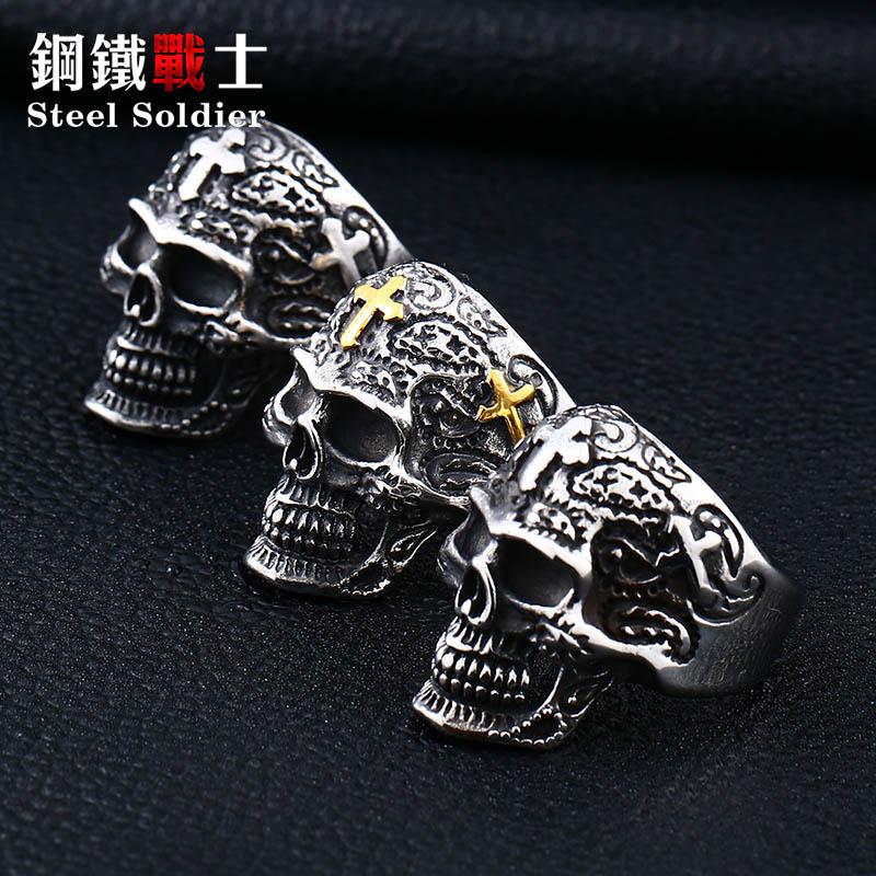 Ushtarak çeliku, kafkë unazë, punk unazë, punk unazë, retro - Bizhuteri të modës - Foto 5
