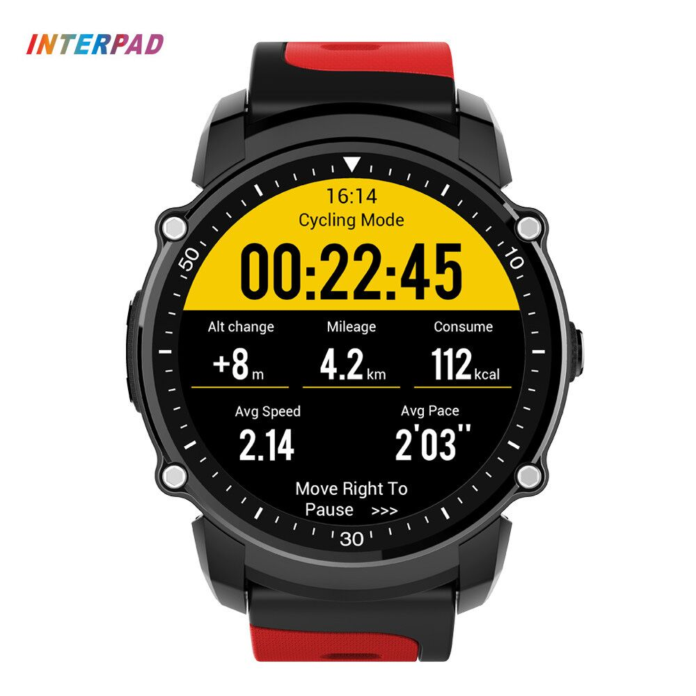 Interpad Smart Watch Men Bluetooth 4.0 Waterproof IP68 Swim GPS Smartwatch Bracelet Fitness Tracker Heart Rate Monitor Compass fs08 gps smart watch mtk2503 ip68 waterproof bluetooth 4 0 heart rate fitness tracker multi mode sports monitoring smartwatch