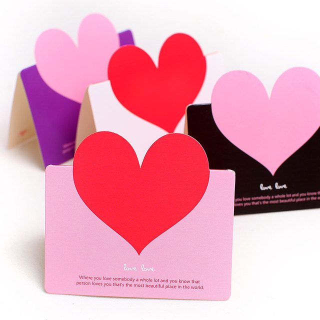 Heart shaped folded card creative wedding blessing Cards Greeting