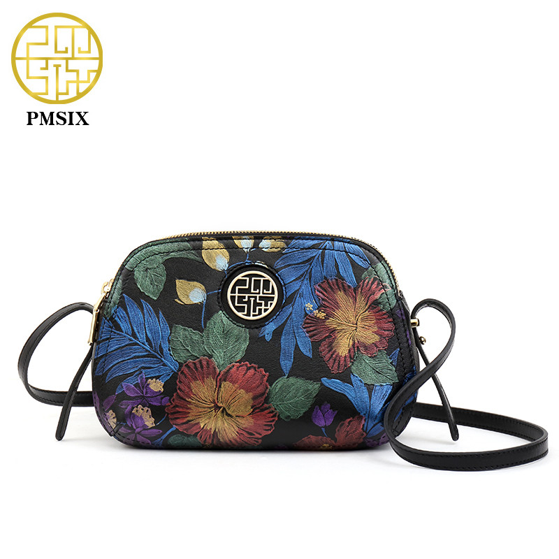 Pmsix Women Soft Genuine Leather Shoulder Bags Vintage Real Cowhide Brand Women Small pattern Crossbody Bag Classic Girl Gift
