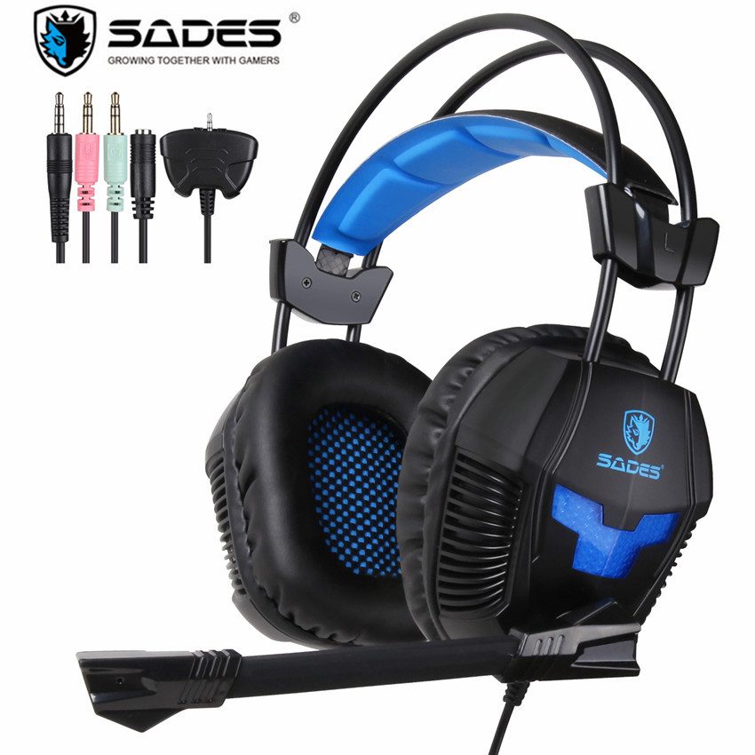Sades SA-921 Stereo Gaming Headphones for a Mobile Phone PS4/Xbox 360/MAC/PSP/Laptop PC Gamer Headset Gaming Headphone with Mic each g8200 gaming headphone 7 1 surround usb vibration game headset headband earphone with mic led light for fone pc gamer ps4