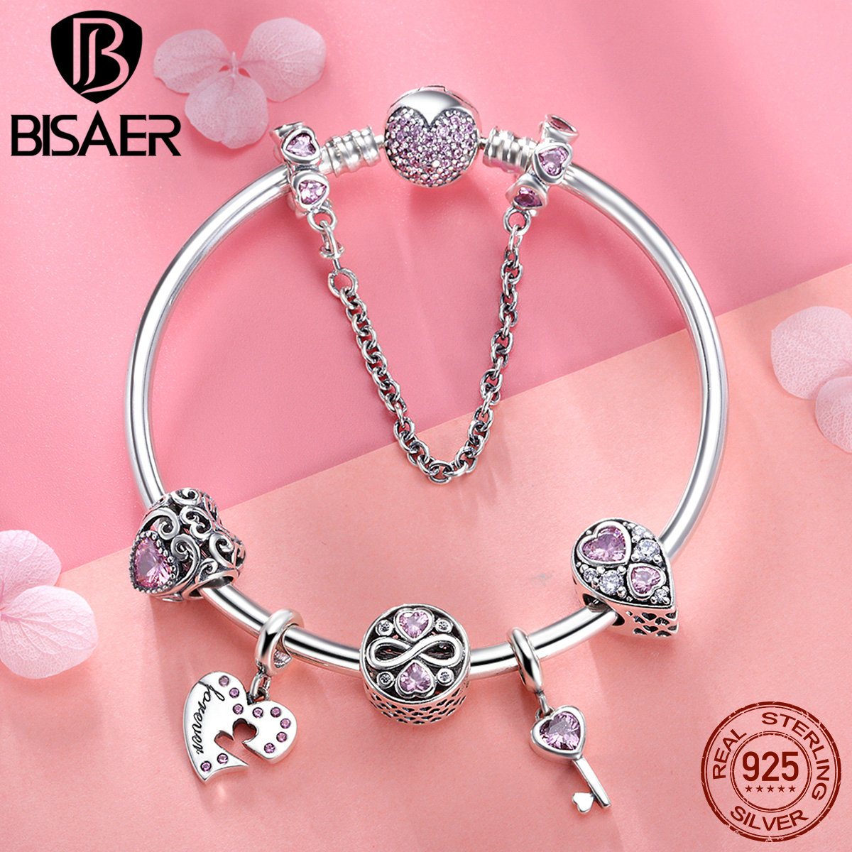 BISAER 7Pcs 925 Sterling Silver Heart Key And Locket Heart Pendant Brand Charm Bracelet For Women Wedding Silver Bangle GXB811 pd2 ztung custom made pd2 bracelet sterling silver for women and men have heart for love
