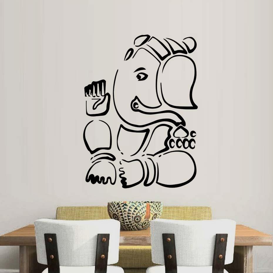 Ganesha Lord Wall Stickers Indian Elephant Animal Vinyl Art Wall ...