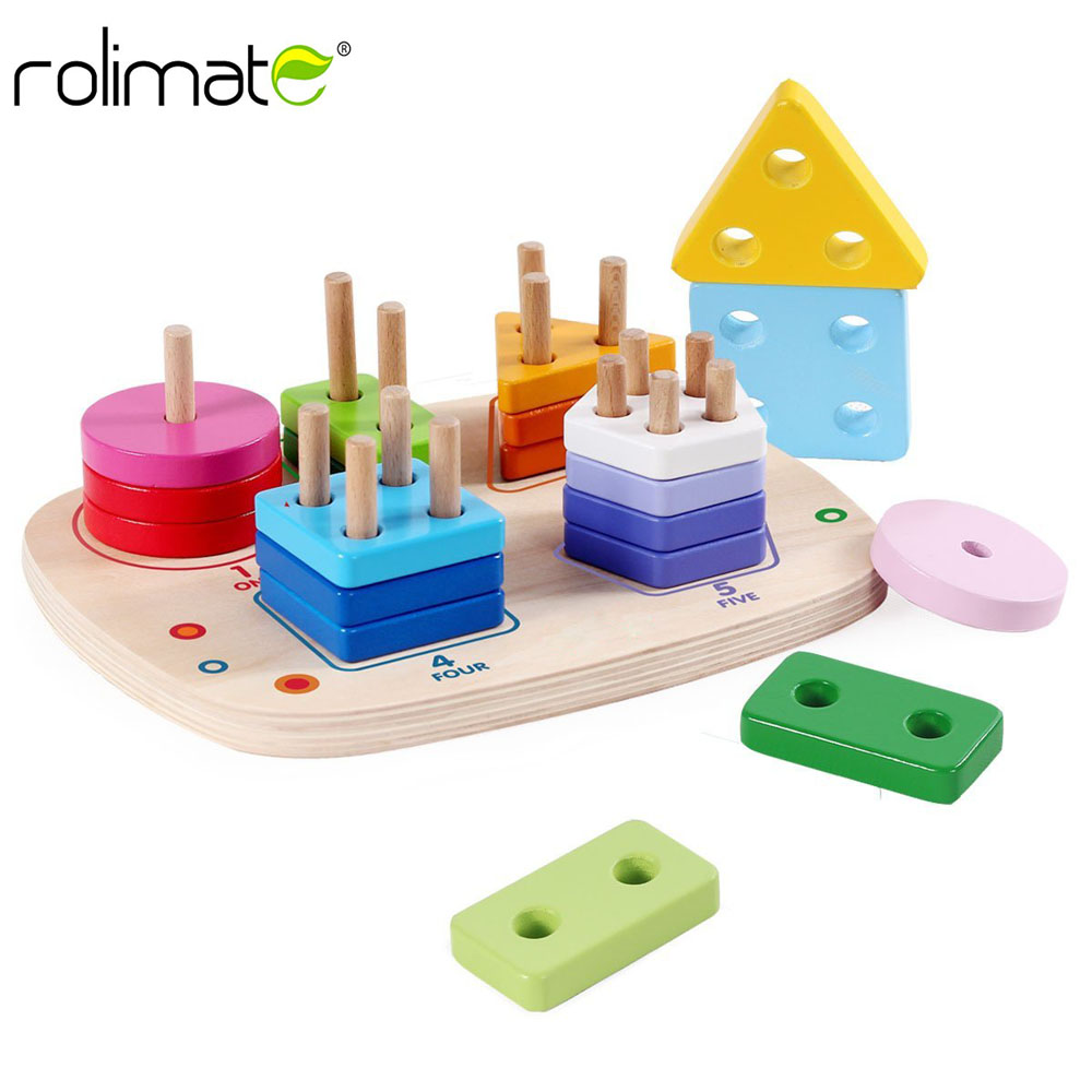 aa735c6015d2 Wooden Educational Preschool Learning Shape Color Recognition ...