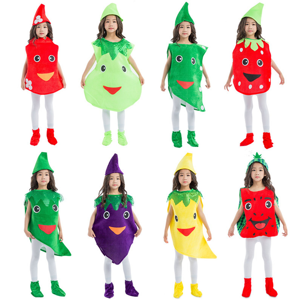 Fancy Dress Kid Costume Vegetable Fruit Suits Outfit Performance Party Fashion Unisex