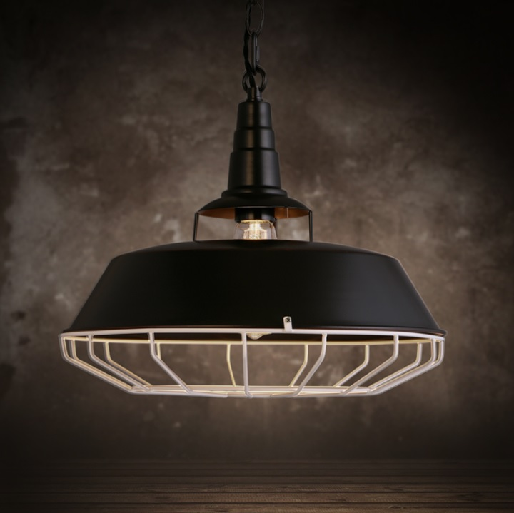 Classic  Barn Light with the Industrial Feel of a Wire Cage Pendant 355mm Metal Shade