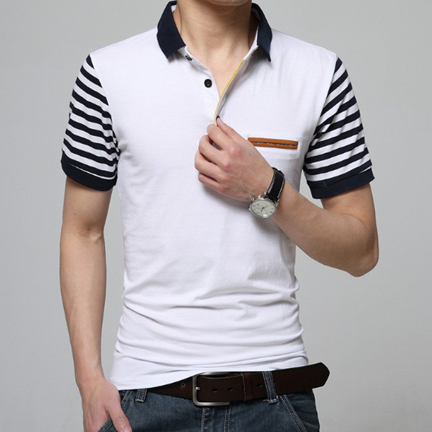 Multi-color brand   polo   shirt men high quality short sleeve stripe   polo   shirt cotton large size slim men   polo   shirt m-3xl