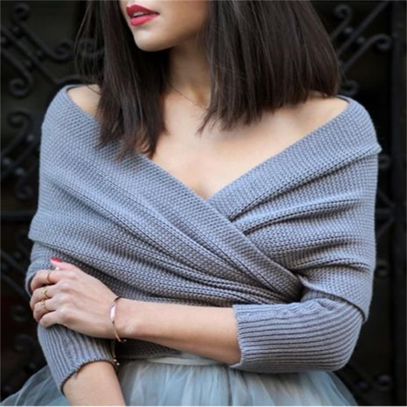 Women's Sweater Winter Jumper Off Shoulder Cross Wrap Knitwear Short Scarf Pullover Tops Lady Fashion Convertible Multi Way Wrap
