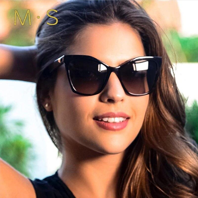 2019 Del Progettista di Marca occhio di Gatto Occhiali Da Sole Donne Dell'annata Del Metallo Riflettente Occhiali da sole Occhiali Per Le Donne Specchio Retro Oculos De Sol Gafas