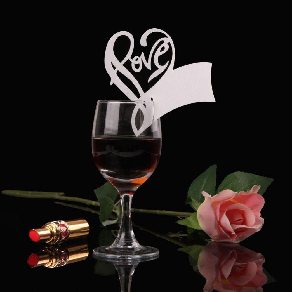 50x Paper Laser Cut Love Heart Table Name Place Escort Cup Card Wine Glass Cards Wedding Baby Shower Party Decorations