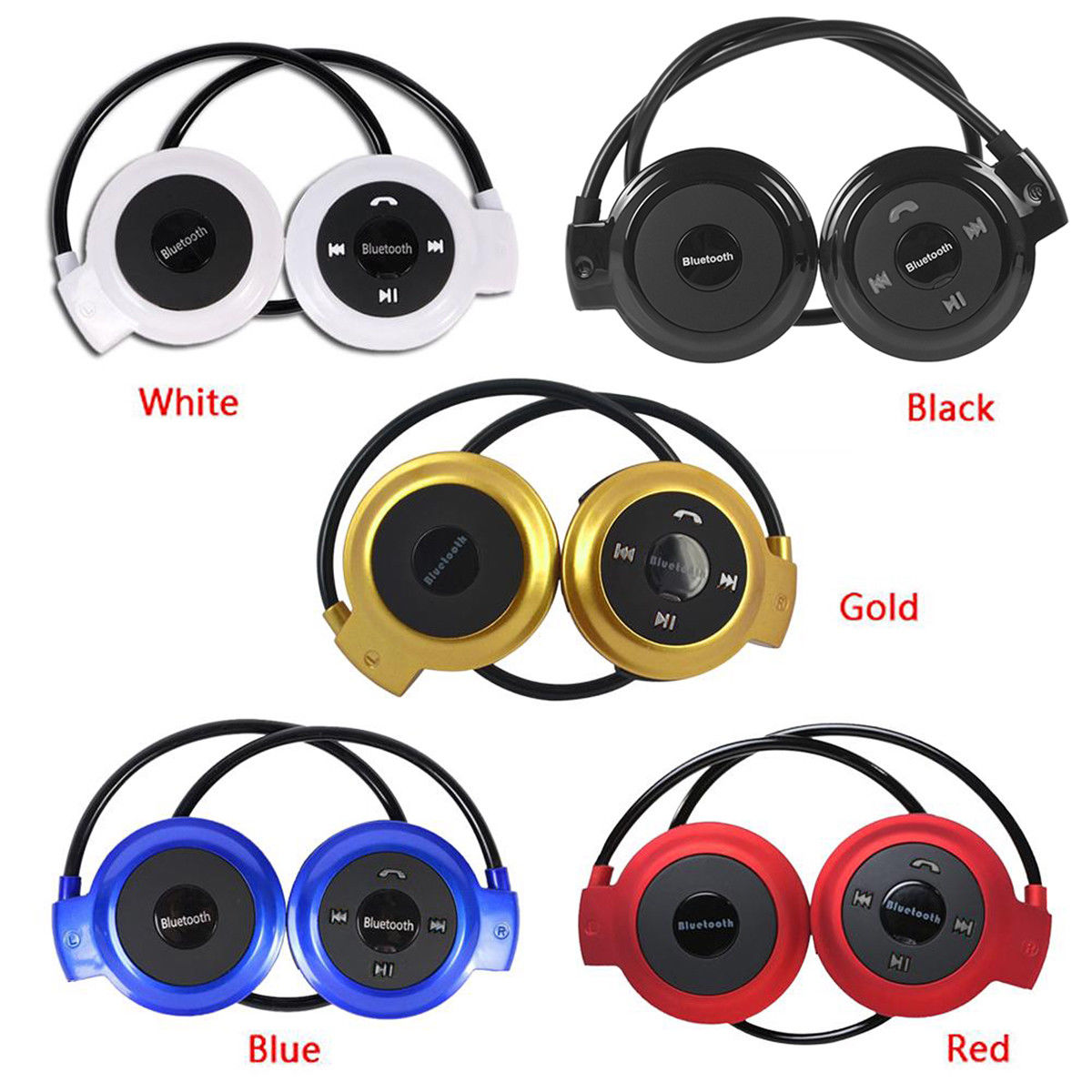 MINI503 Sport Wireless Bluetooth Headphones Stereo Earphones Mp3 Music Player Headset Earpiece Micro SD Card Slot FM Radio Mic stylish neckband headphones mp3 player headset w fm tf card slot blue black