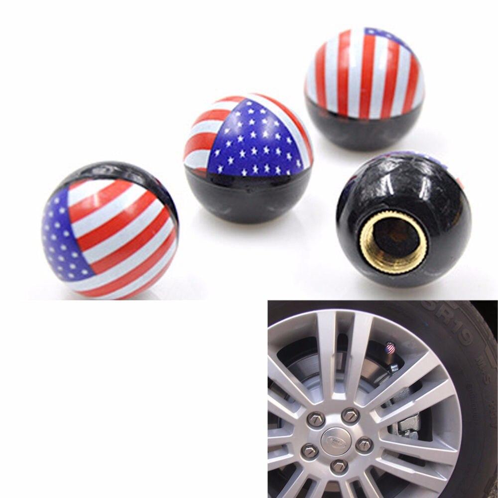 4 x American Flag Style Car Pickup SUV Wheel Tire Valve Stem Air Dust Caps Cover