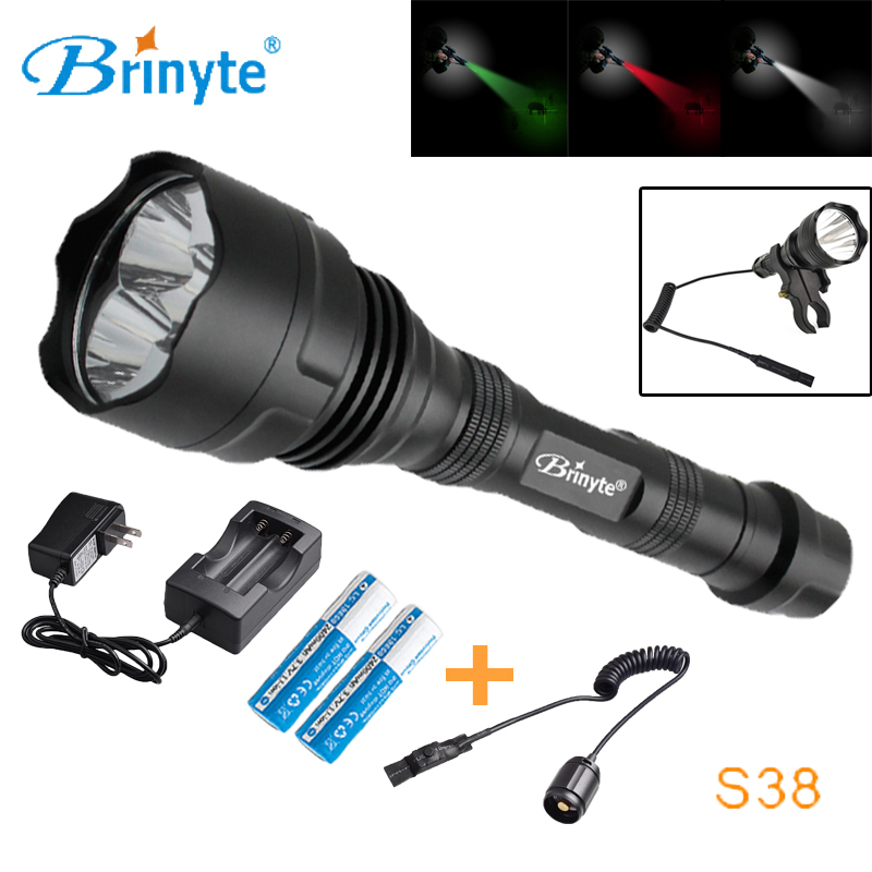 Brinyte S38 High Power Rechargeable LED Searchlight 1000 lumens 3 XR-E Q5 CREE Mini Tactical LED Torch Remote Control Flashlight mini rechargeable led flashlight led cree q5 lanterna high power torch 2000 lumen zoomable tactical penlight lantern bike light