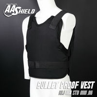 AA SHIELD Bullet Proof Vest Concealable Ballistic Body Armor Aramid Core Insert self defense supply Lvl IIIA 3A M XL Black