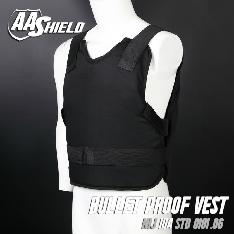 AA SHIELD Bullet Proof Vest Concealable Ballistic Body Armor Aramid Core Insert self defense supply Lvl IIIA 3A M-XL Black