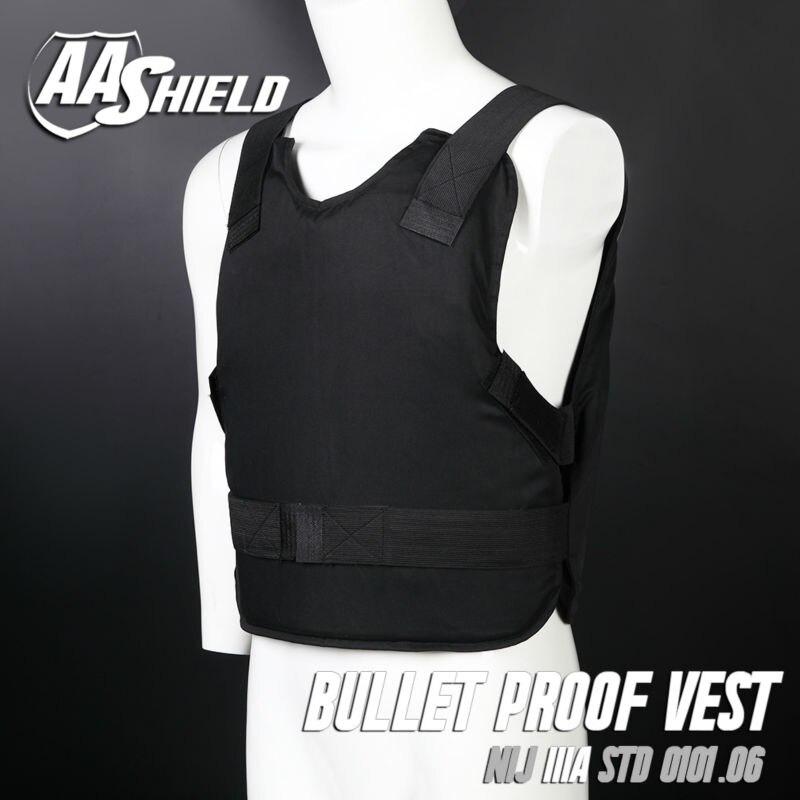 AA SHIELD Bullet Proof Vest Concealable Ballistic Body Armor  Aramid Core Insert  self defense supply Lvl IIIA 3A M-XL Black