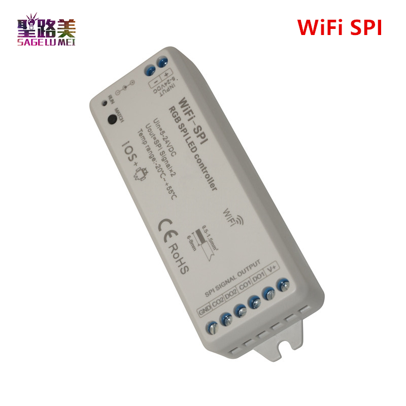 купить DC5V-24V RGB SPI WiFi LED Controller Support WS2811 WS2812B SM16703 LPD6803 WS2801 UCS1903 sk6812 IC LED Pixel digital Strips онлайн