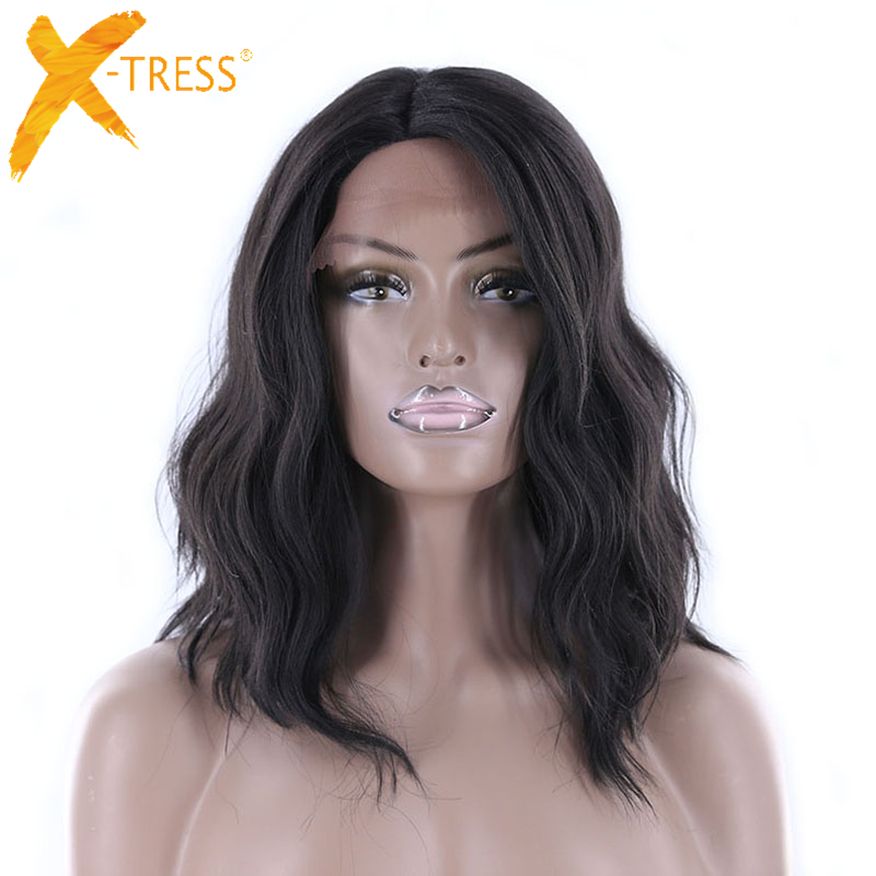 X-TRESS Natural Wave Ombre Black Blonde Wig Heat Resistant Fiber Synthetic Lace Front Wig 14 Side Part Bob Wigs For Women