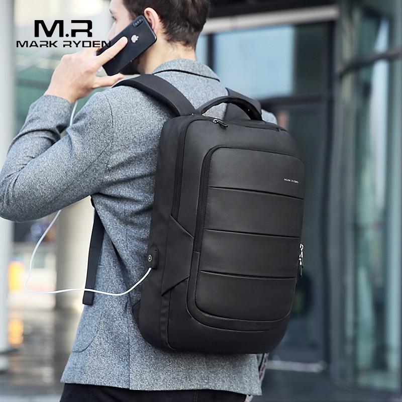 Mark Ryden Man Backpack Fit 15 6 inch Laptop Multifunctional USB Recharging Waterproof Travel Male Bag
