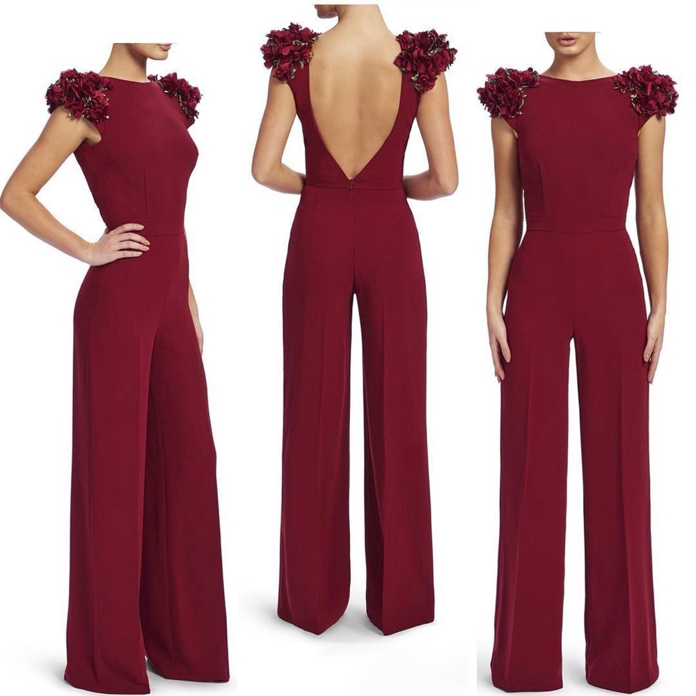 Detail Feedback Questions about 2018 Fashion Wine Red Short Sleeve  Polyester Jumpsuit Backless Sexy Women Celebrity Flower Evening Party  Jumpsuits on ... c31be369a85d