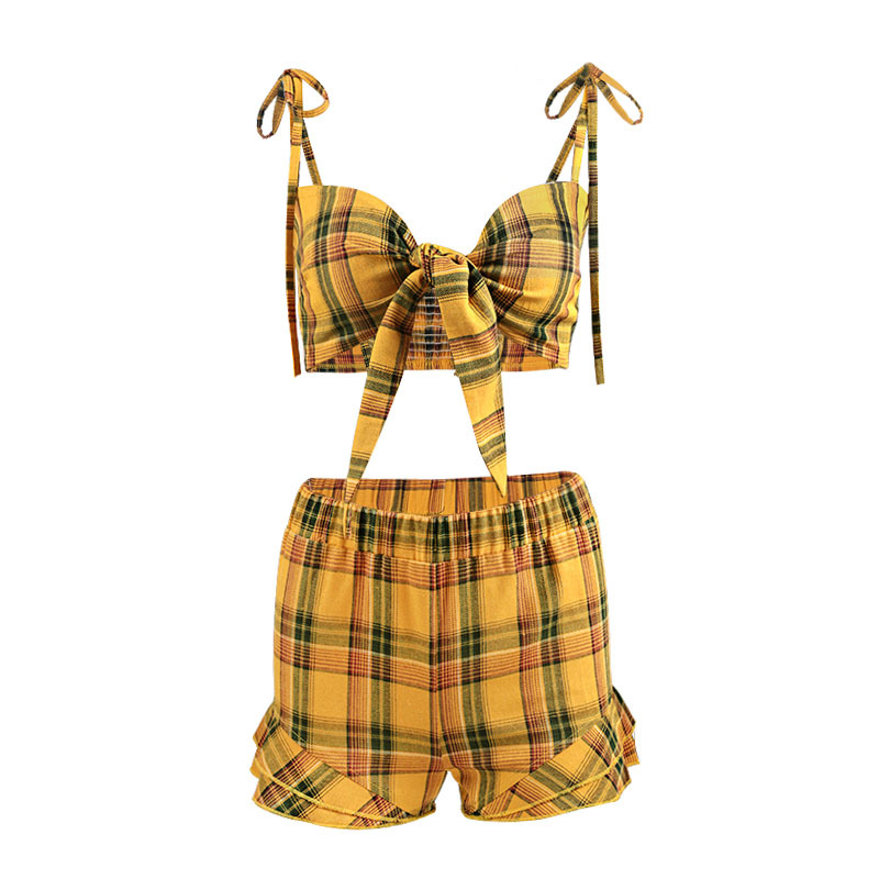 23432eb95324 Yellow Plaid 2 Piece Set Women Summer Ruched Ruffles Elastic Waist Skirt  and Bow Crop Top Sexy 2018 New Style Woman Set-in Women's Sets from Women's  ...