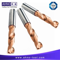 AHNO Tungsten Carbide Drill Bits 3xD with 2 Internal Coolants for CNC Machine, AlCr based copper Balzers Coating