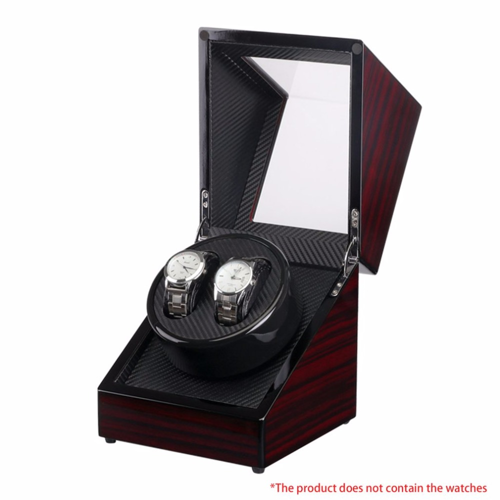 US plug boîte de montre en bois laque Piano brillant noir Fiber de carbone Double boîte de remontoir silencieux moteur de stockage vitrine