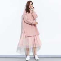 GUTU 2017 Korean Autumn Fashion New Large Size Fake Two Pieces Mesh Yarn Stitching Striped