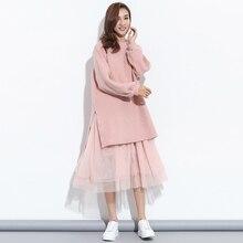 [Gutu] 2017 Корейская Осенняя мода новый Большие размеры поддельные из двух предметов сетка пряжи шить полосатый Свободные вязаное платье женские V58301