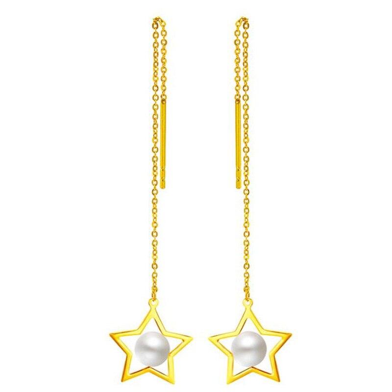 Fashion 100% Real 18K Gold Wire Line Earrings For Women 5-5.5mm Freshwater Pearl Long Ear Line AU750 Fine JewelryFashion 100% Real 18K Gold Wire Line Earrings For Women 5-5.5mm Freshwater Pearl Long Ear Line AU750 Fine Jewelry