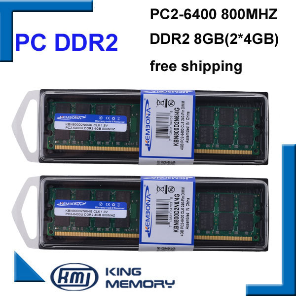 KEMBONA Wholesale 2PCS/Lot DESKTOP DDR2 8GB KIT(2X4gb)800MHz Pc2-6400 Dual-channel DDR2 8G Desktop Memory For A-M-D Compatible