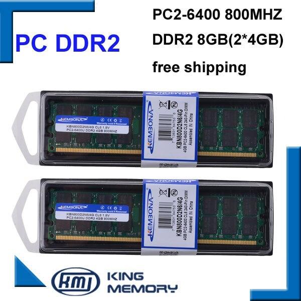 KEMBONA Wholesale 2PCS/Lot DESKTOP DDR2 8GB KIT(2X4gb)800MHz pc2-6400 Dual-channel DDR2 8G Desktop memory for A-M-D Compatible