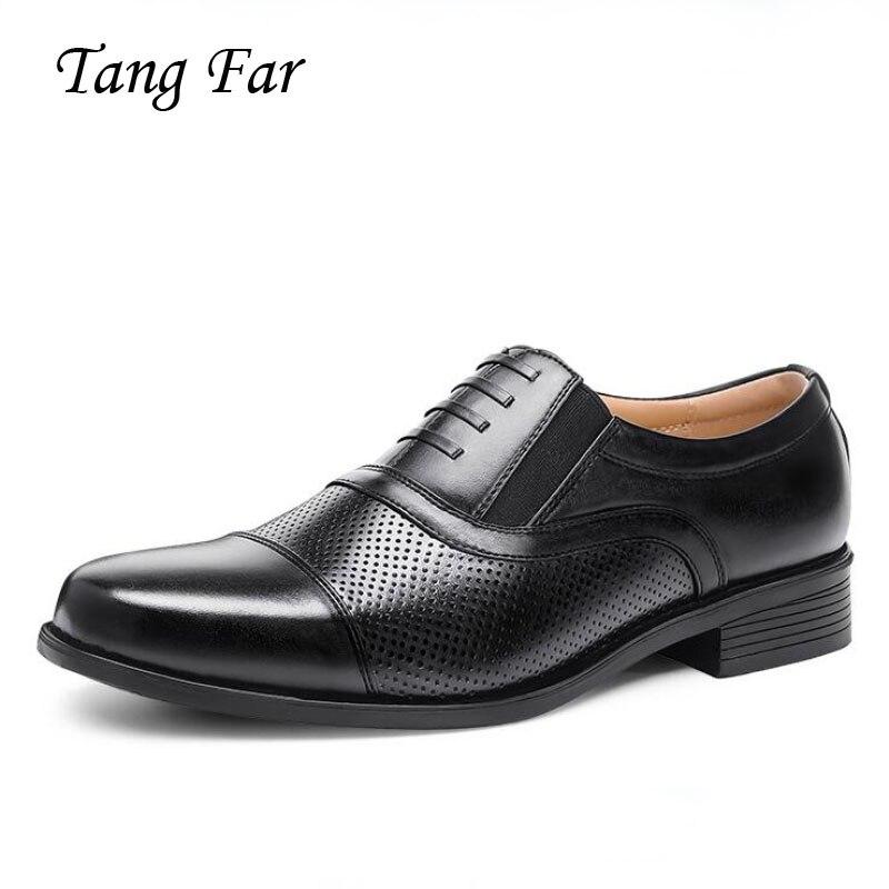 2019 Cool Sandals Men Plus Size Holes Sergeant Military Shoes Mature Men s Leather Officer Dress