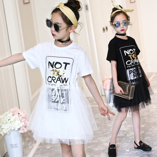 b1d45e250ea5 2018 Summer girls dresses white black casual teenage clothing 12 years old