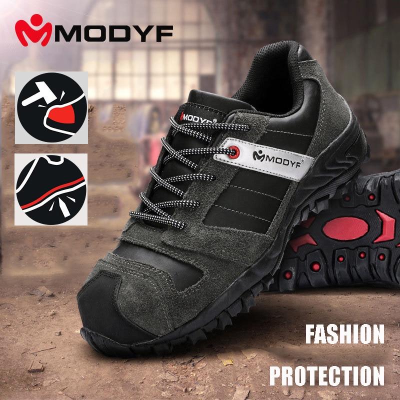 MODYF ชาย Steel Toe Cap ทำงานรองเท้าหนัง Anti puncture รองเท้ากลางแจ้งสวมใส่ resisant รองเท้าผ้าใบ-ใน รองเท้าบู๊ทนิรภัยและทำงาน จาก รองเท้า บน   1